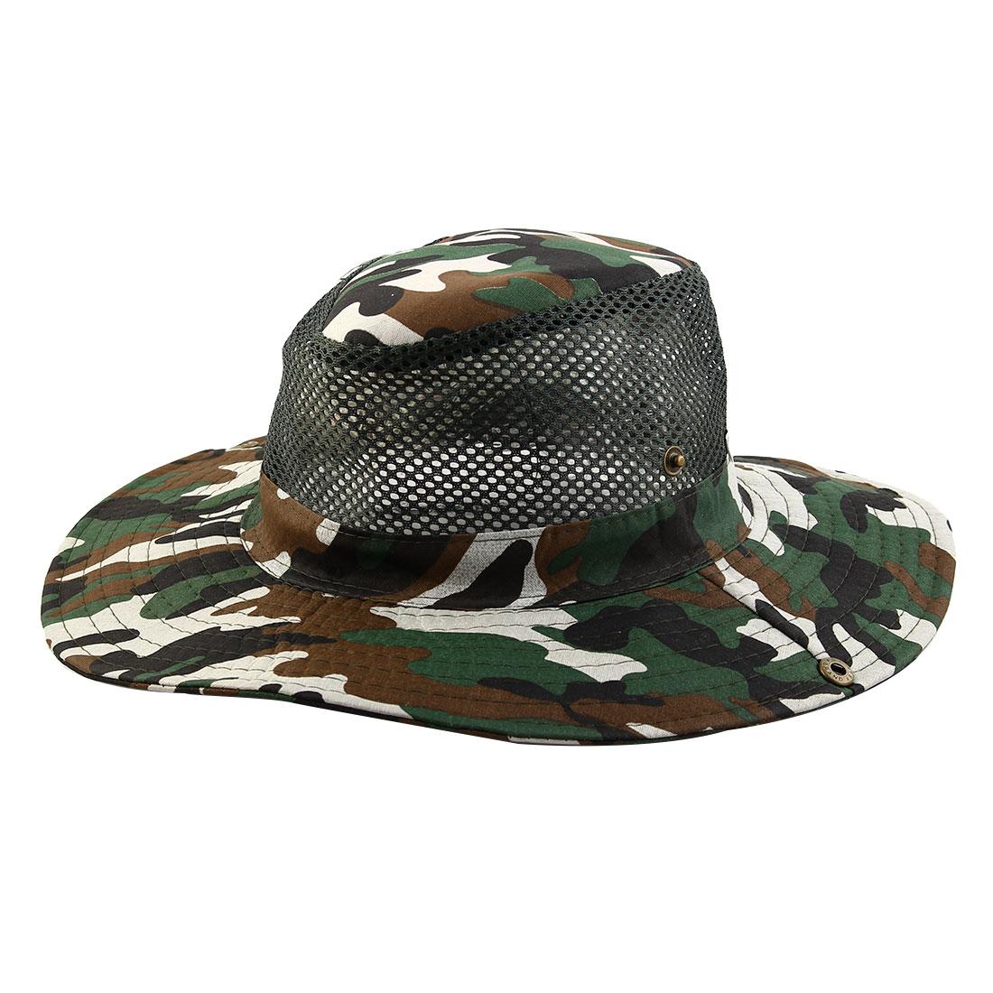 Men Summer Wide Brim Western Style Camouflage Mesh Sunhat Cowboy Hat Dark Green