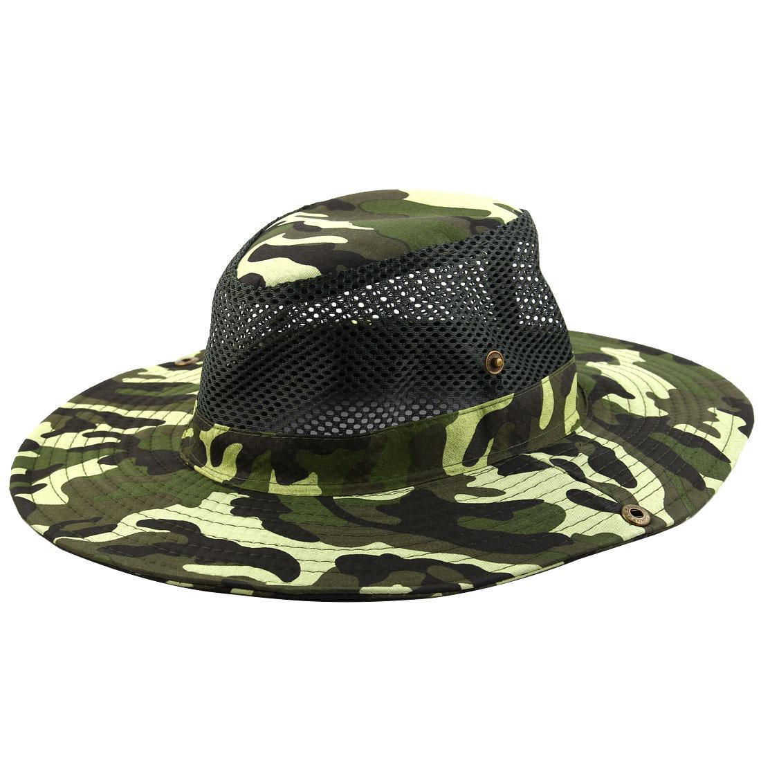 Men Summer Wide Brim Western Style Camouflage Mesh Sunhat Cowboy Hat Army Green