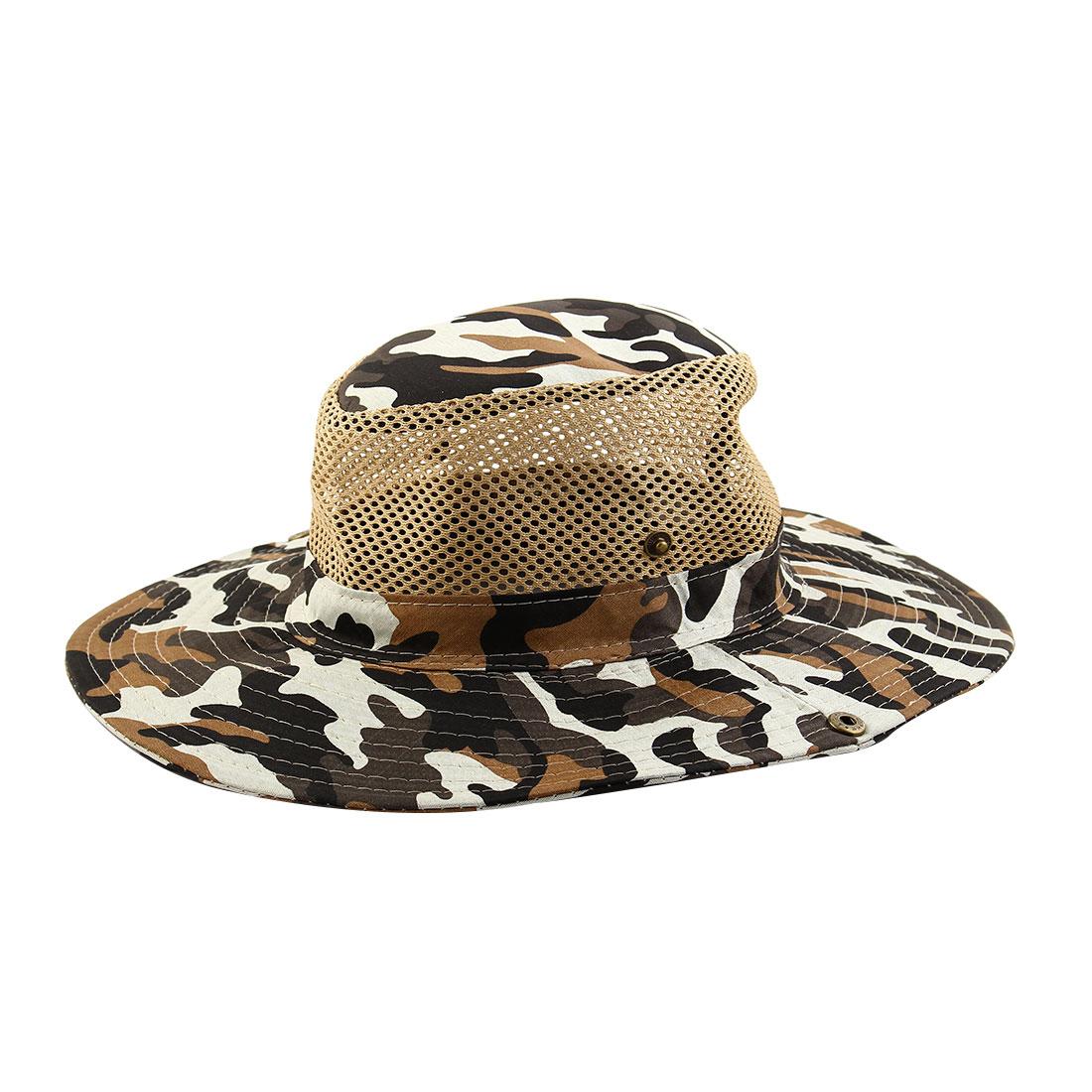 Men Summer Wide Brim Western Style Camouflage Mesh Sunhat Cowboy Hat White Green