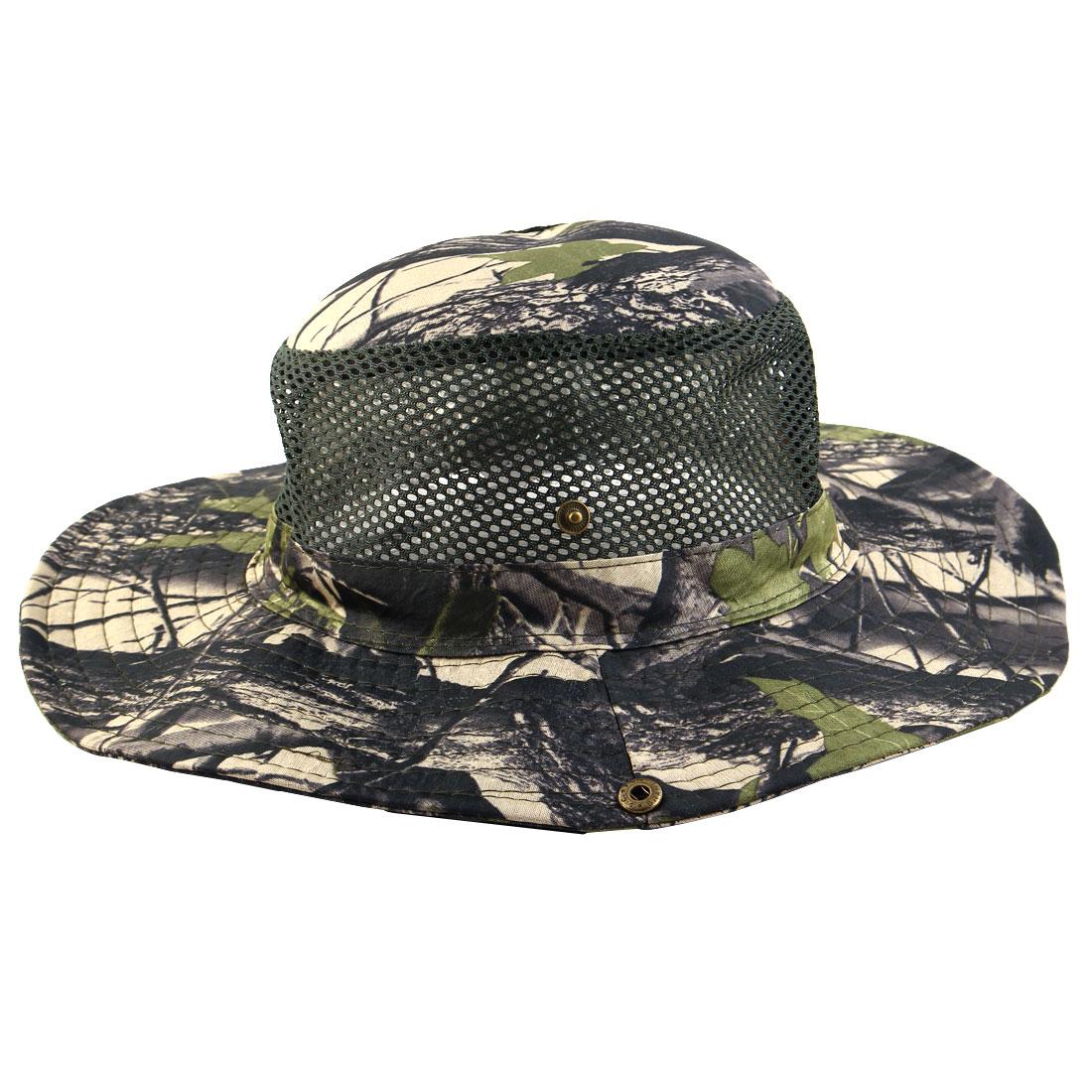 Men Summer Wide Brim Western Style Camouflage Mesh Cap Net Sunhat Cowboy Hat #5