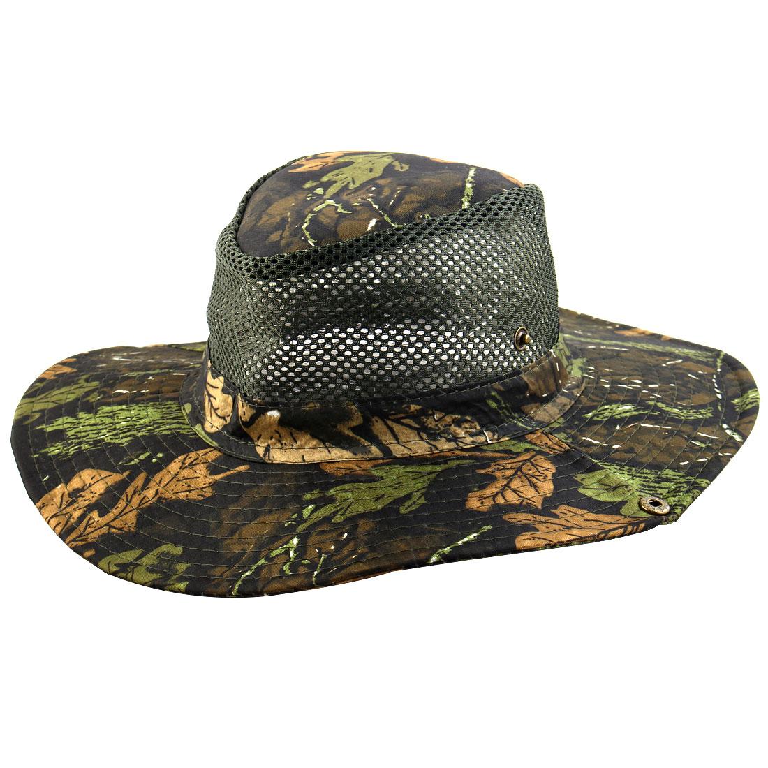 Men Summer Wide Brim Western Style Camouflage Mesh Cap Net Sunhat Cowboy Hat #6