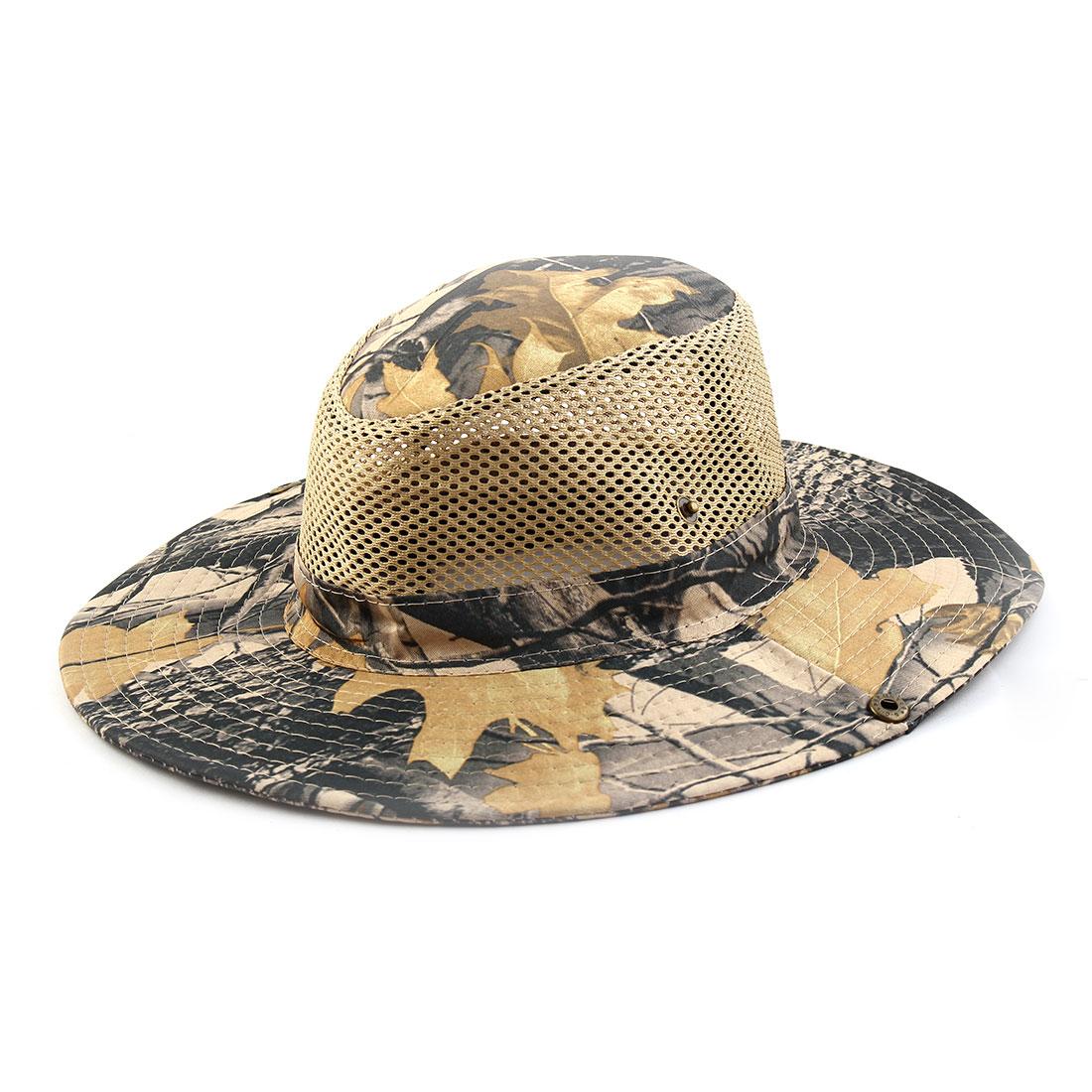 Men Summer Wide Brim Western Style Camouflage Mesh Cap Net Sunhat Cowboy Hat #7