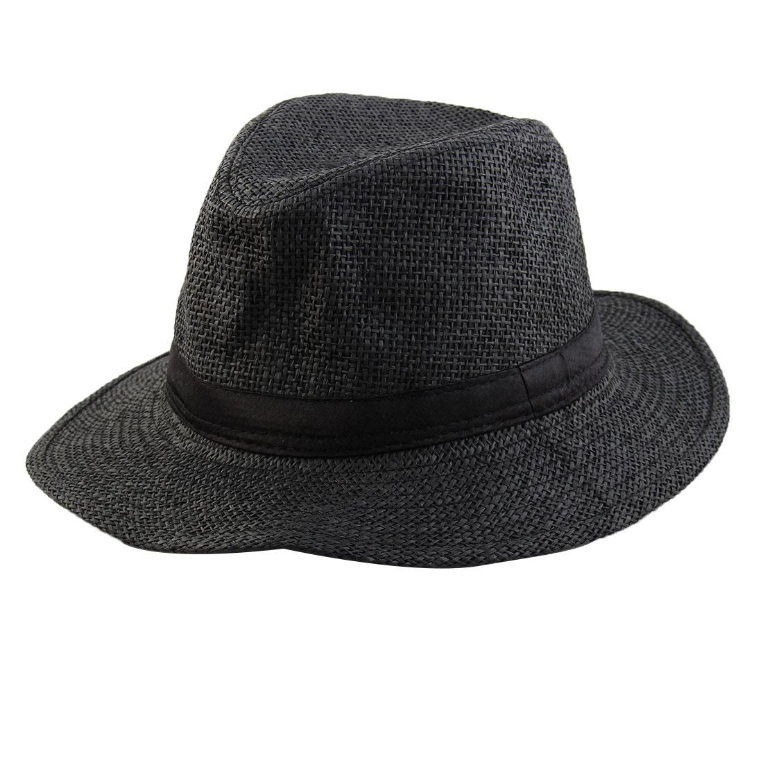 Men Summer Straw Braided Wide Brim Western Style Beach Sunhat Cowboy Hat Black