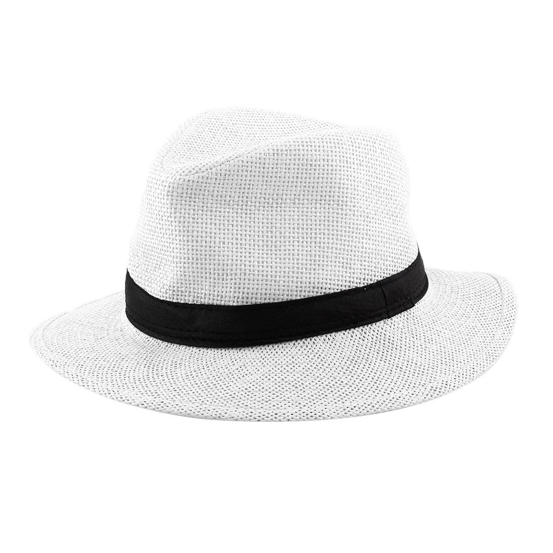 Men Summer Straw Braided Wide Brim Western Style Beach Sunhat Cowboy Hat White