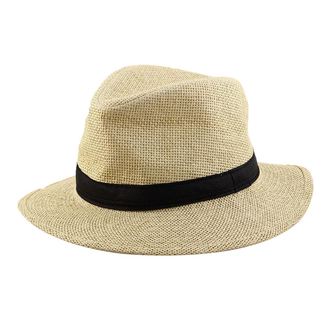 Summer Straw Braided Wide Brim Western Style Beach Sunhat Cowboy Hat Light Beige