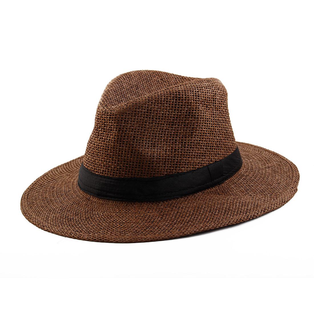 Summer Straw Braid Wide Brim Western Style Beach Sunhat Cowboy Hat Coffee Color