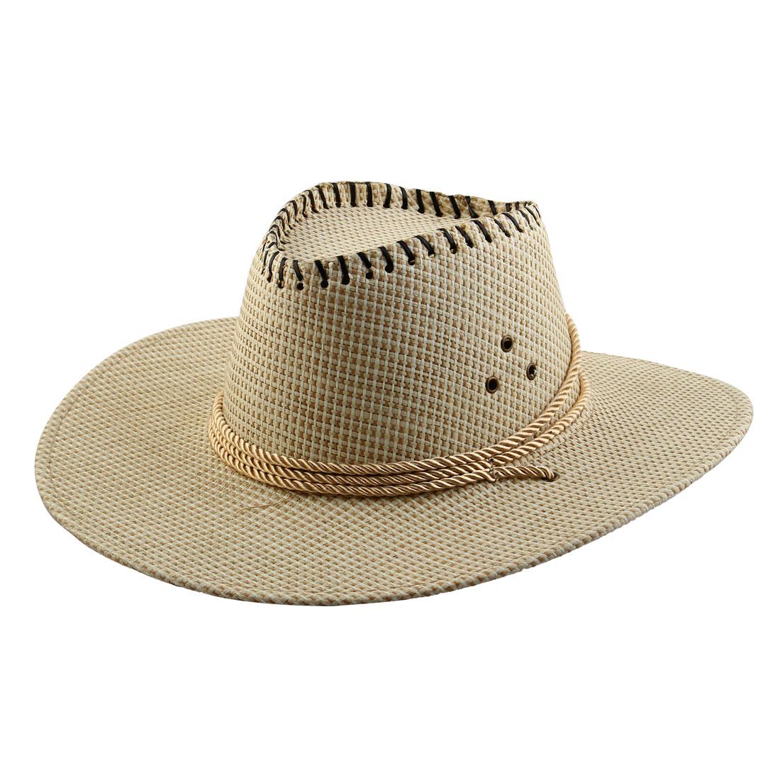 Summer Adjustable Strap Braided Wide Brim Western Style Sunhat Cowboy Hat White