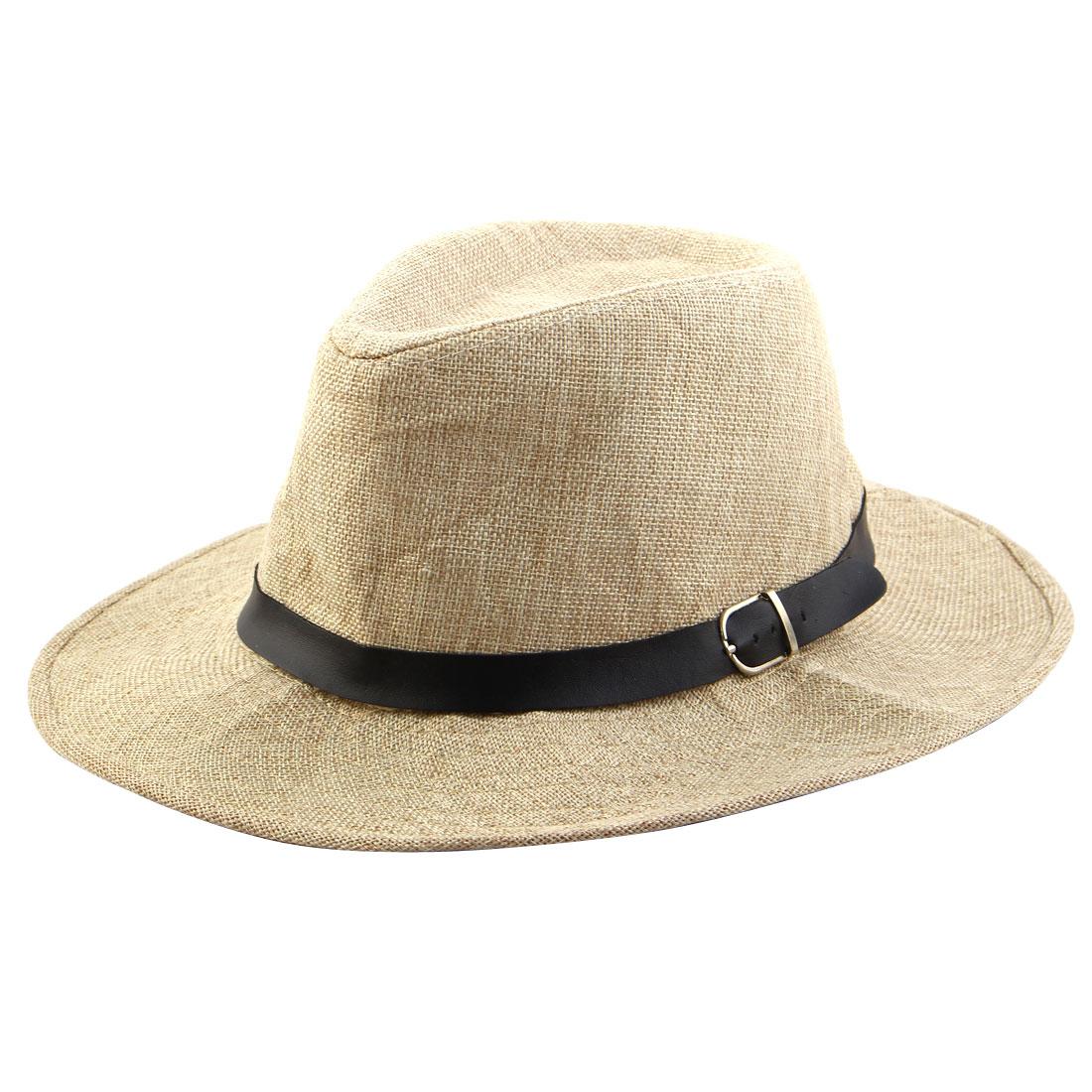 Men Summer Outdoor Linen Wide Brim Western Style Beach Sunhat Cowboy Hat Beige
