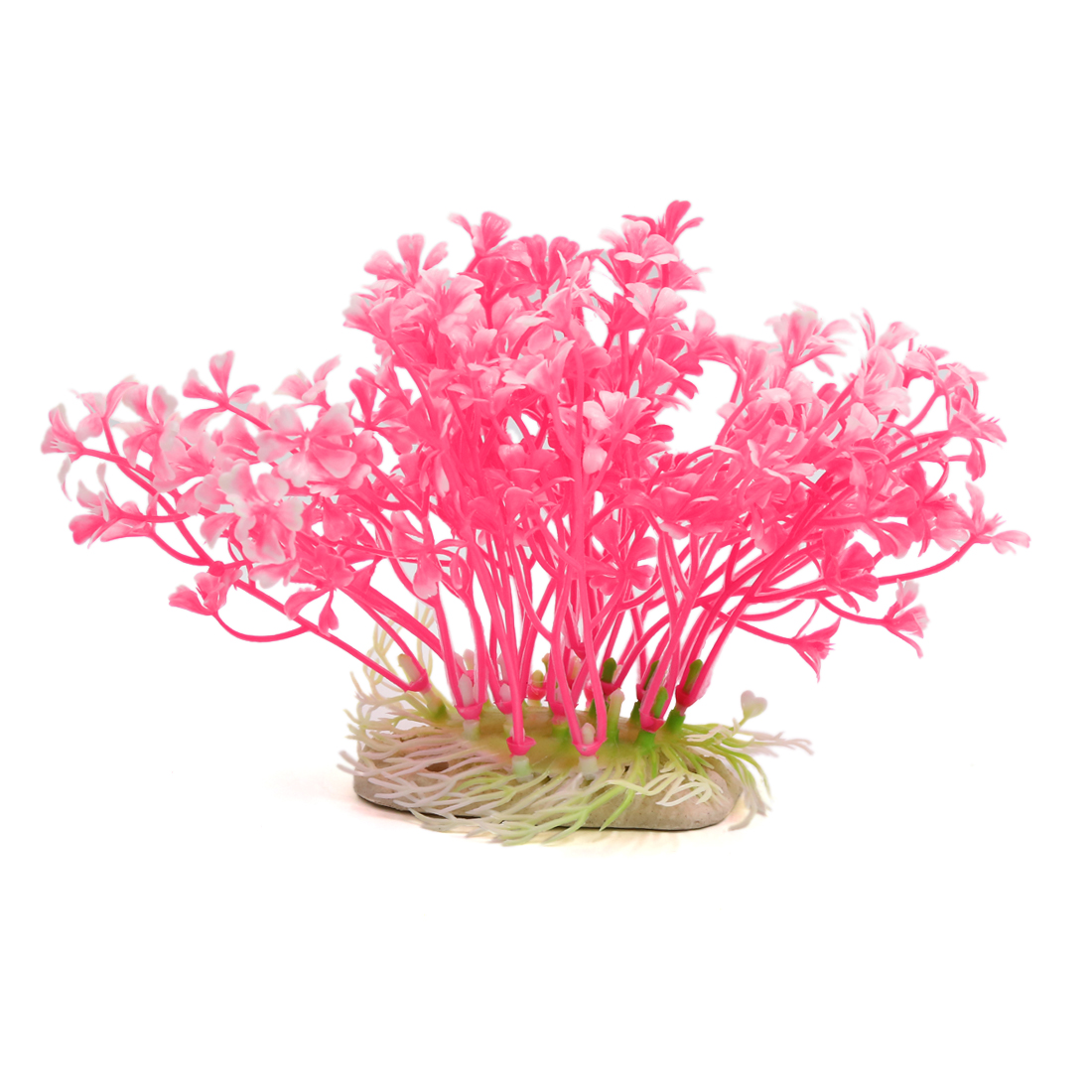 Pink Plastic Plant Aquarium Fish Tank Decor Beautify Landscape w/ Ceramic Base