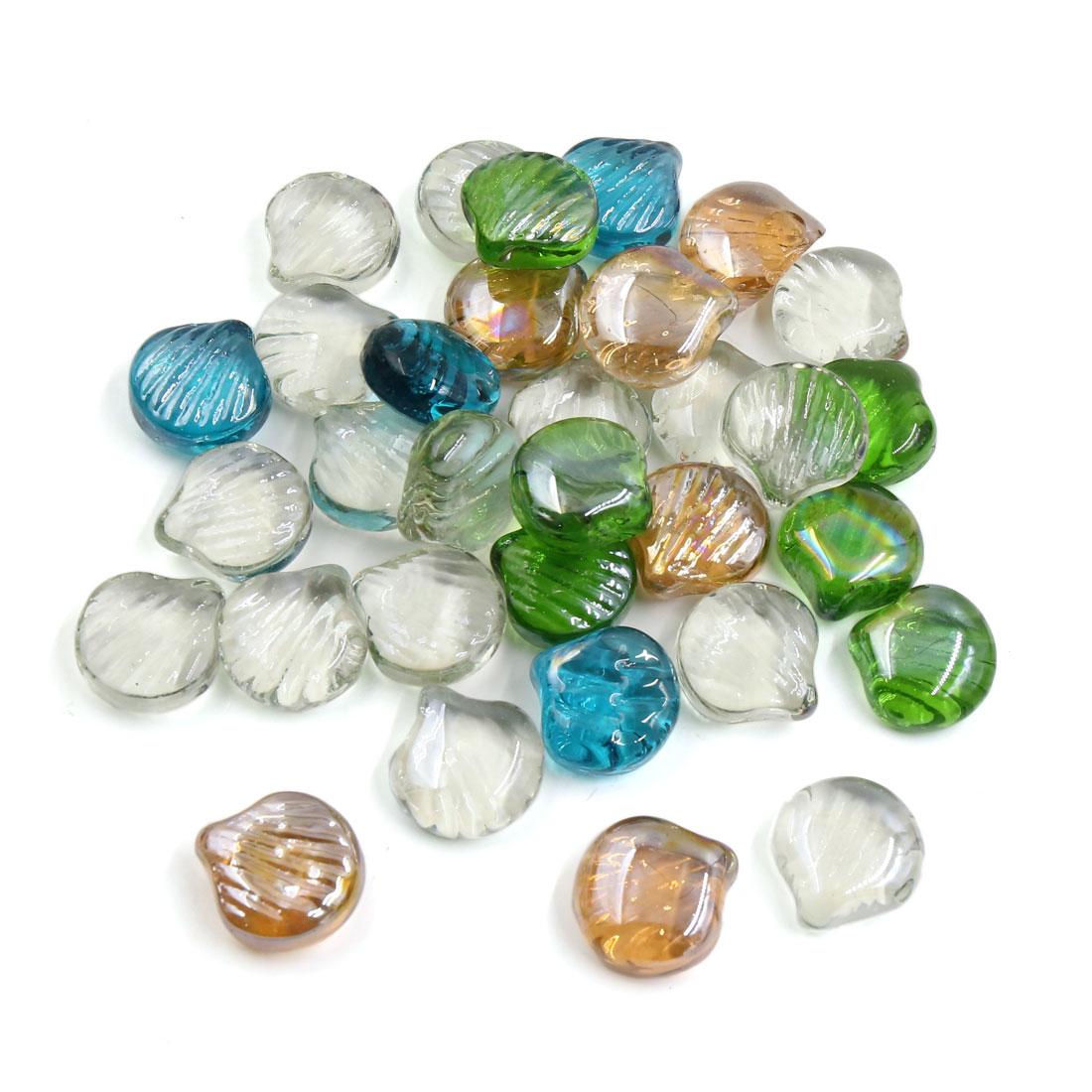 500g Multicolor Glass Scallop Shaped Fish Tank Aquarium Decor Pebble Bead Stones