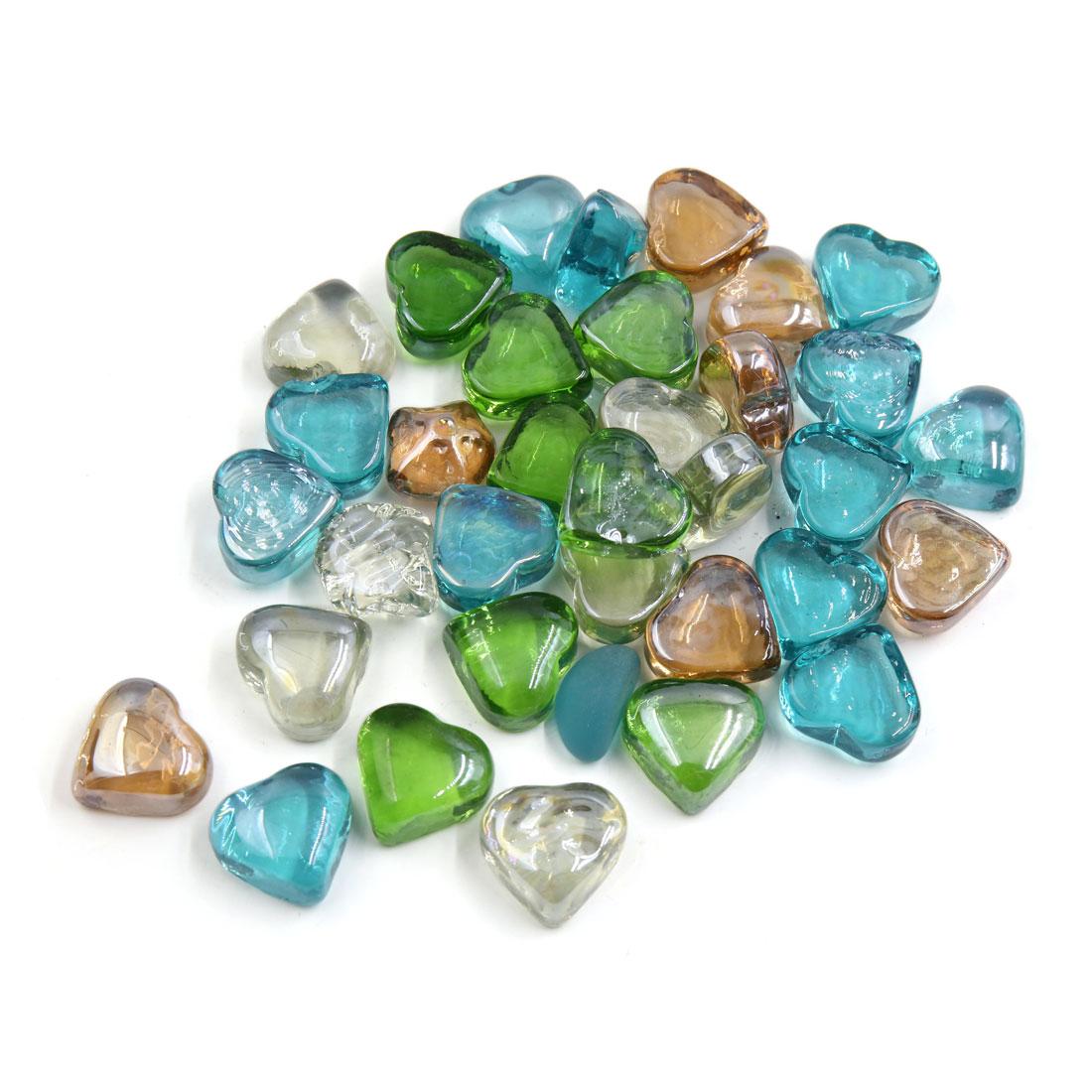 500g Multicolor Glass Heart Shaped Fish Tank Aquarium Decor Pebble Bead Stones