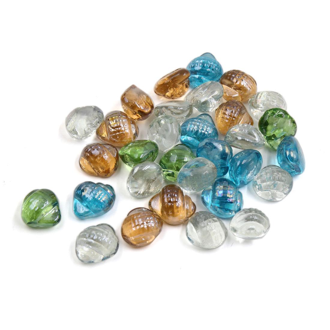 500g Multicolor Glass Conch Shaped Fish Tank Aquarium Decor Pebble Bead Stones