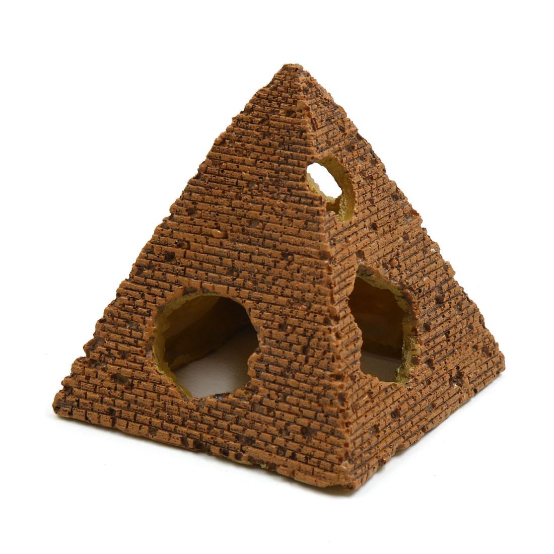 Resin Pyramid Shaped Aquarium Betta Tank Decor Fish Shrimp Shelter Ornament L