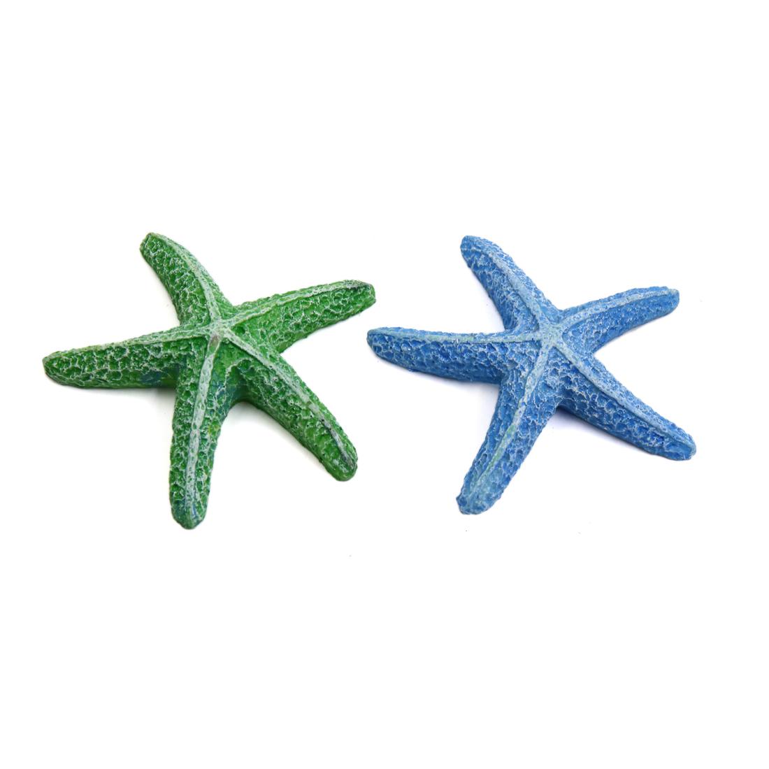 2pcs Multicolor Resin Starfish Decoration Ornament for Aquarium Betta Fish Tank