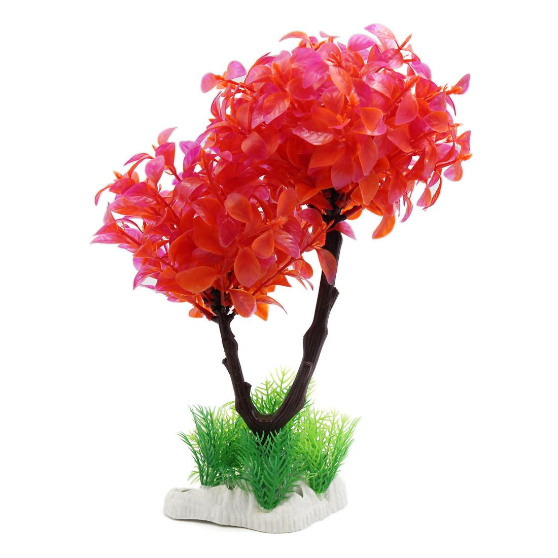 Red Plastic Aquarium Leaves Tree Aquatic Plant Underwater Beautify Landscape