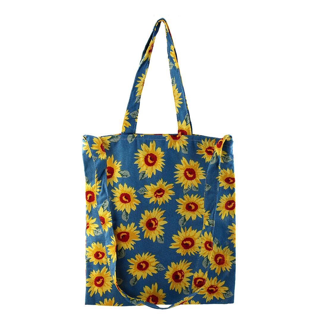 Zipper Closure Shoulder Pack Hand Pocket Outdoor Shopping Handbag Tote Bag Blue