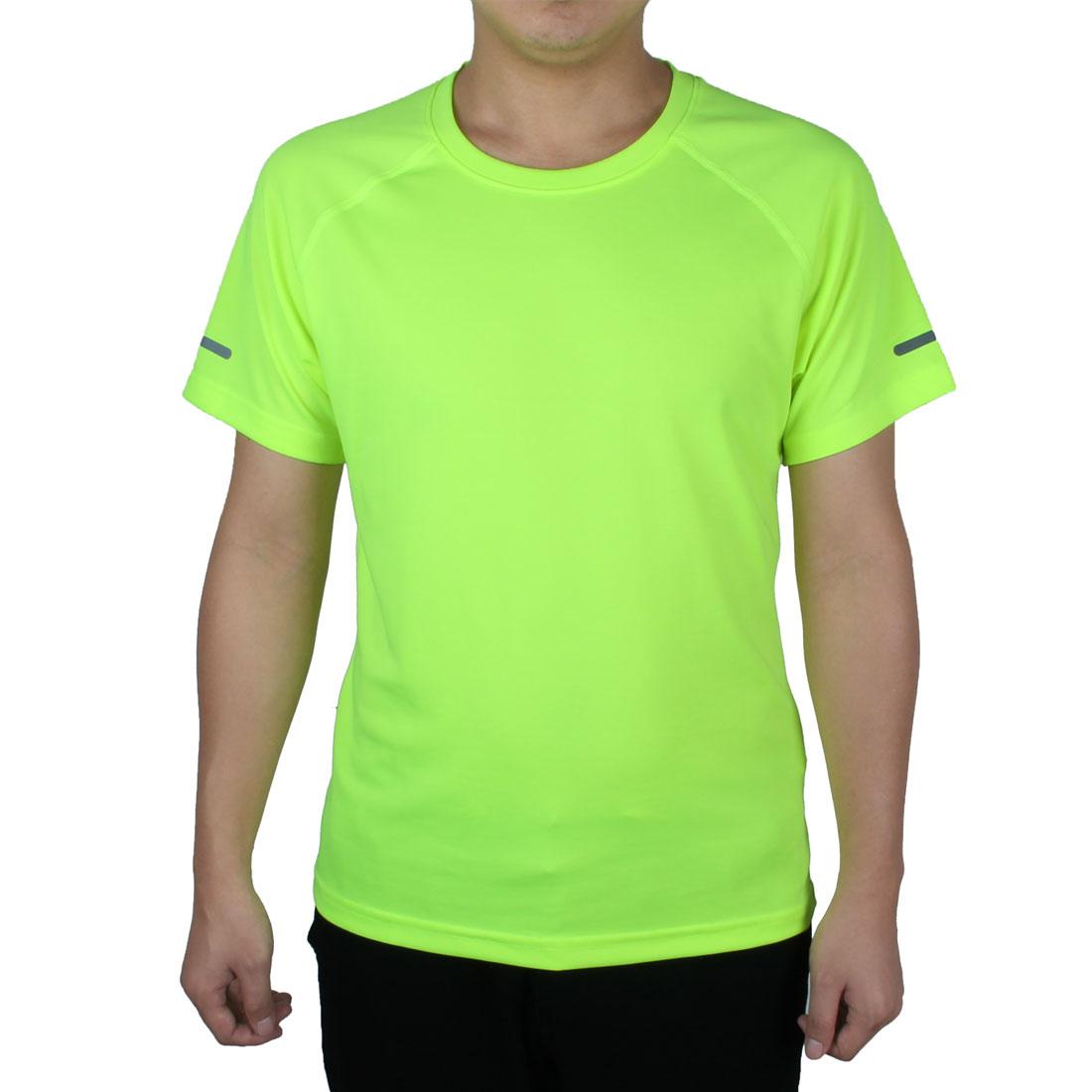 Short Sleeve Tee Clothes Reflective Soccer Sports T-shirt Fluorescent Green XL