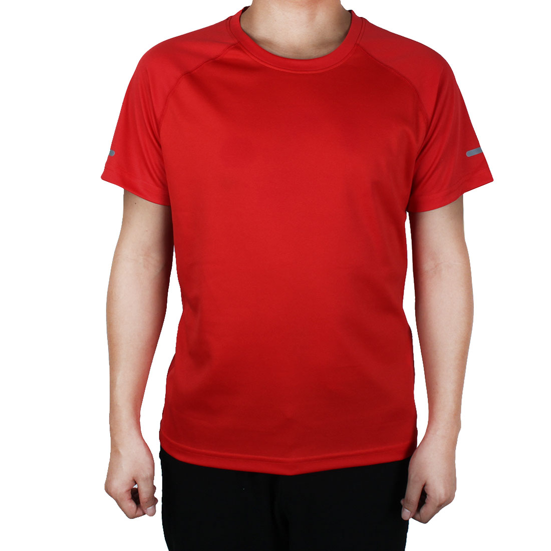 Short Sleeve Clothes Reflective Stretchy Basketball Soccer Sports T-shirt Red M