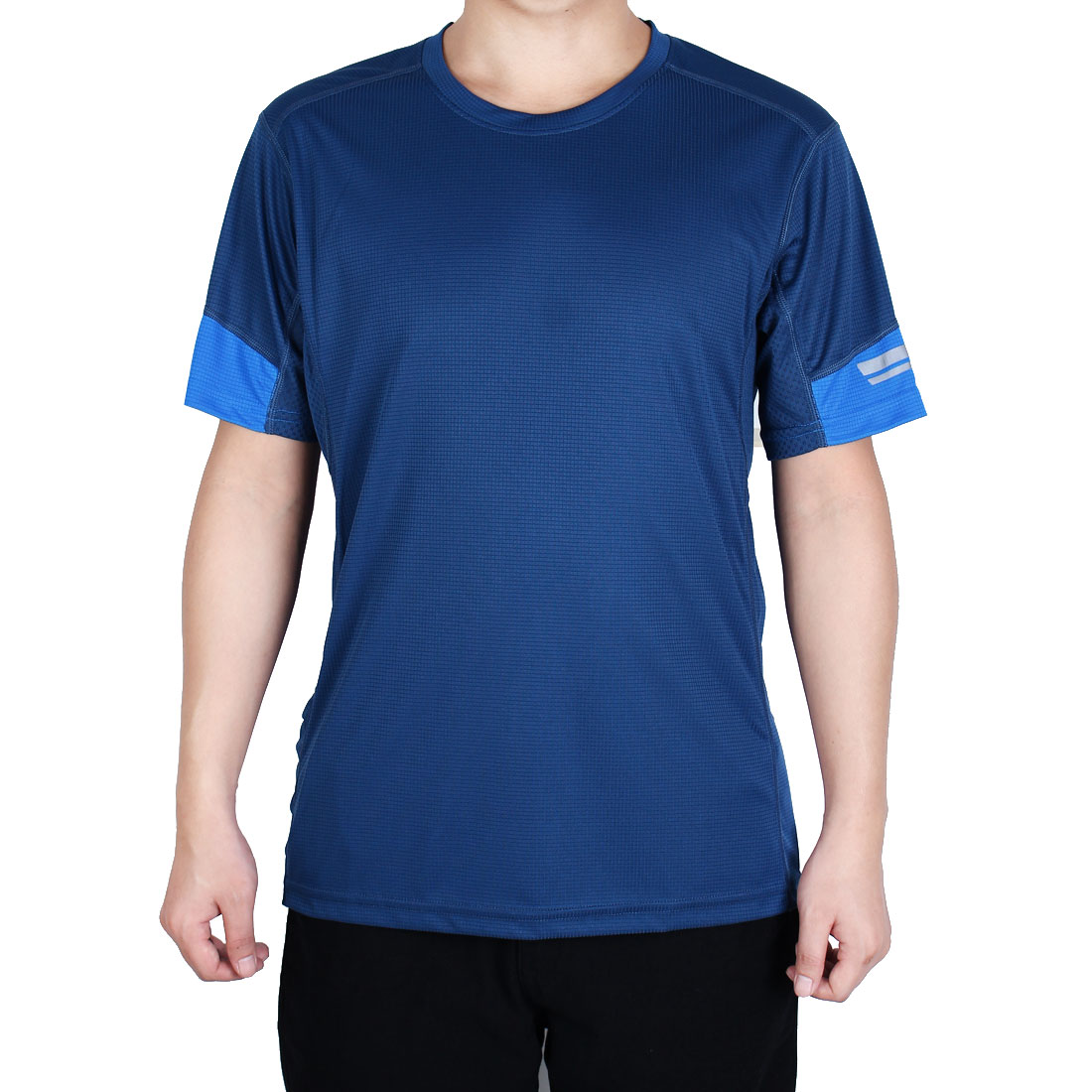 Men Polyester Short Sleeve Clothes Casual Wear Tee Sports T-shirt Navy Blue L