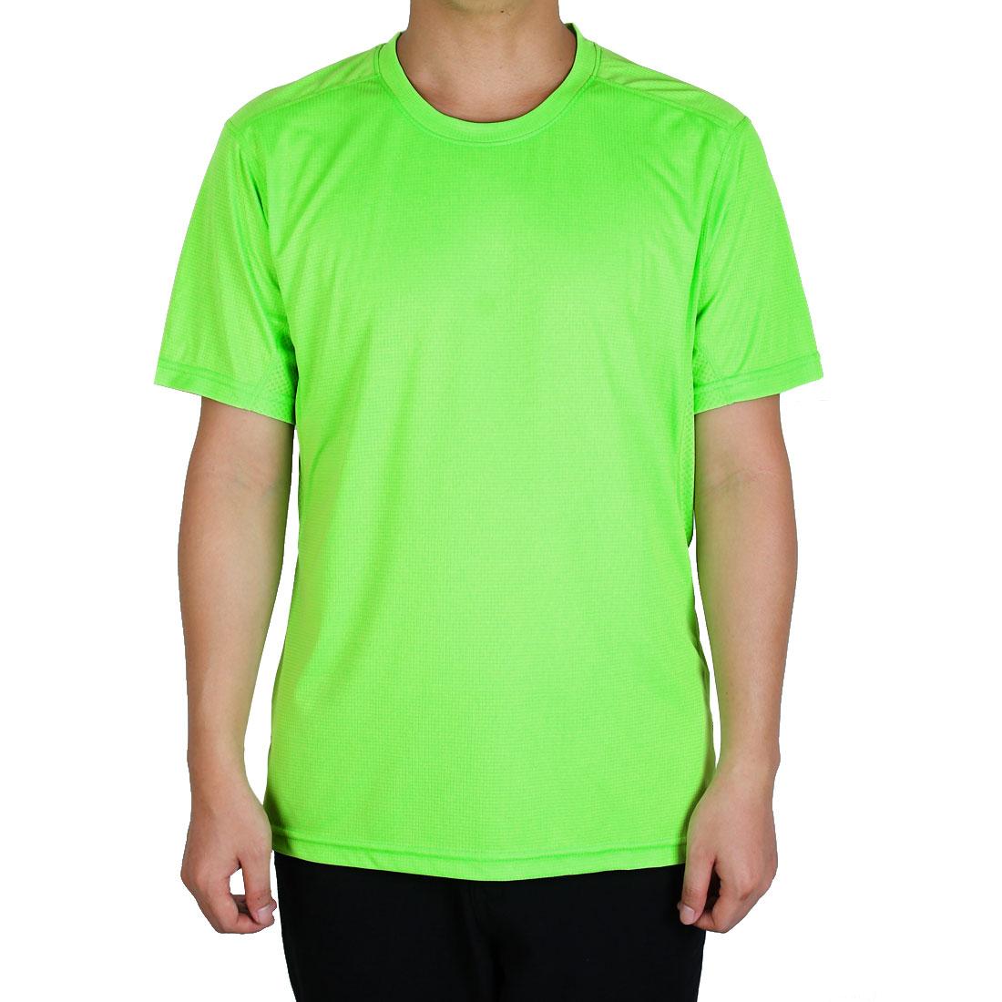 Men Short Sleeve Clothes Casual Wear Tee Jogging Running Sports T-shirt Green XL