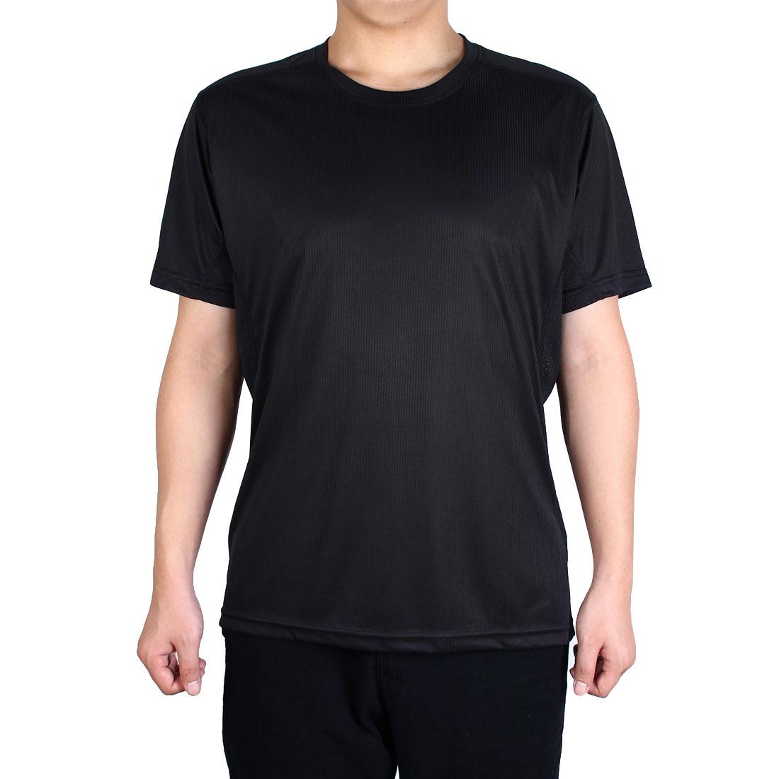 Adult Men Short Sleeve Clothes Casual Wear Tee Running Sports T-shirt Black L