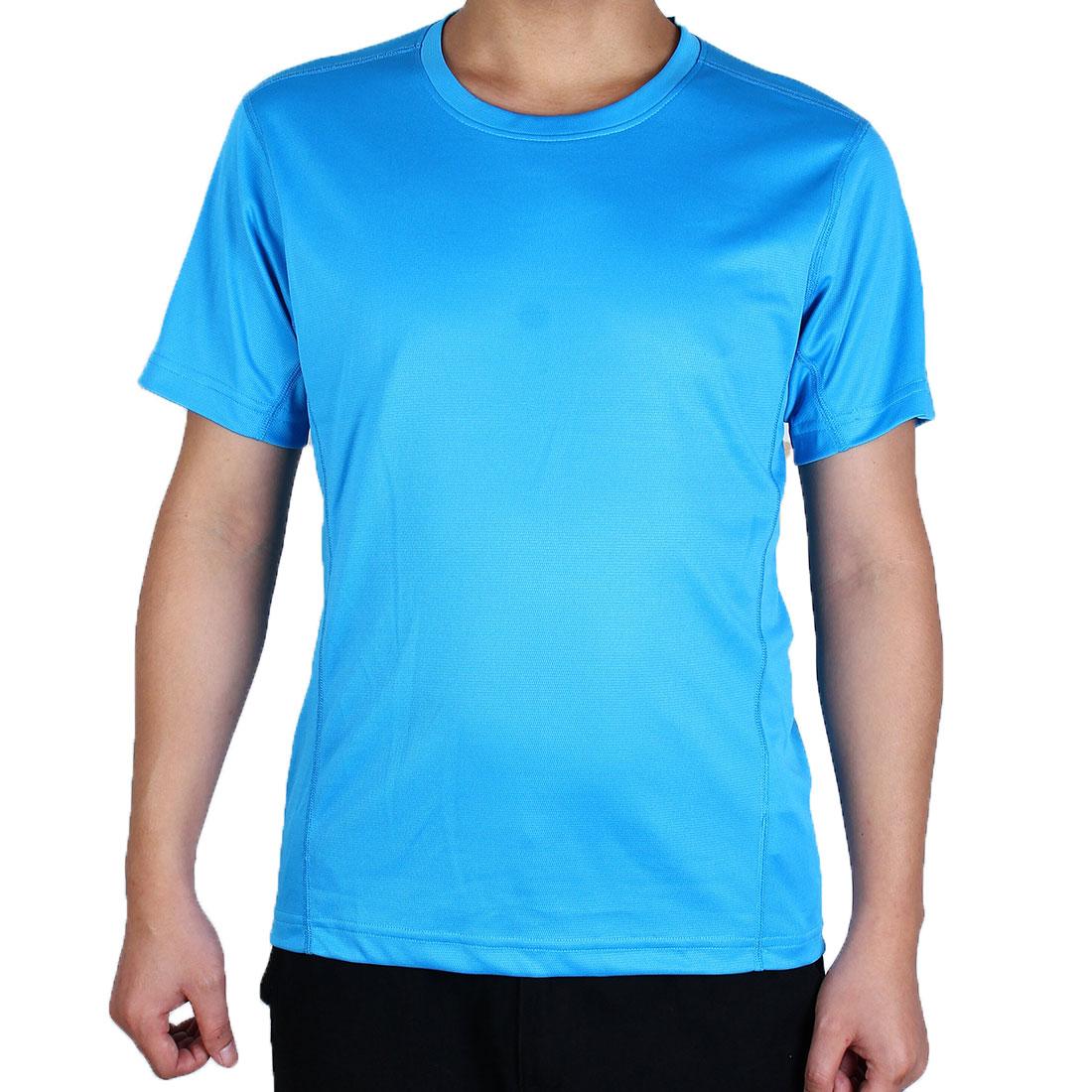 Men Short Sleeve Clothes Casual Wear Tee Cycling Biking Sports T-shirt Blue L