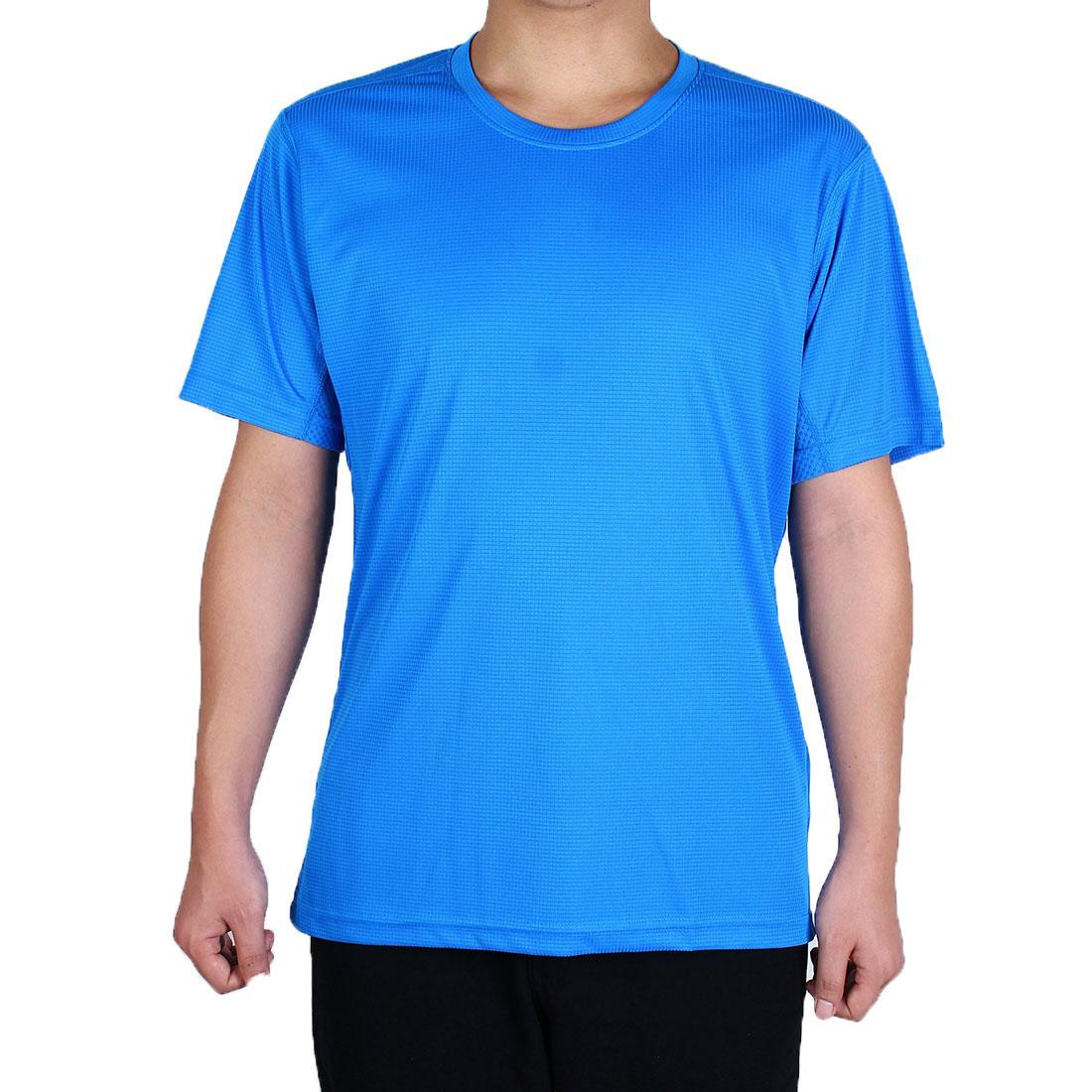 Men Polyester Short Sleeve Clothes Casual Wear Tee Golf Sports T-shirt Blue XL
