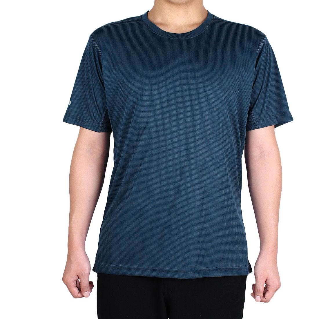 Men Short Sleeve Clothes Casual Wear Tee Golf Tennis Sports T-shirt Navy Blue XL