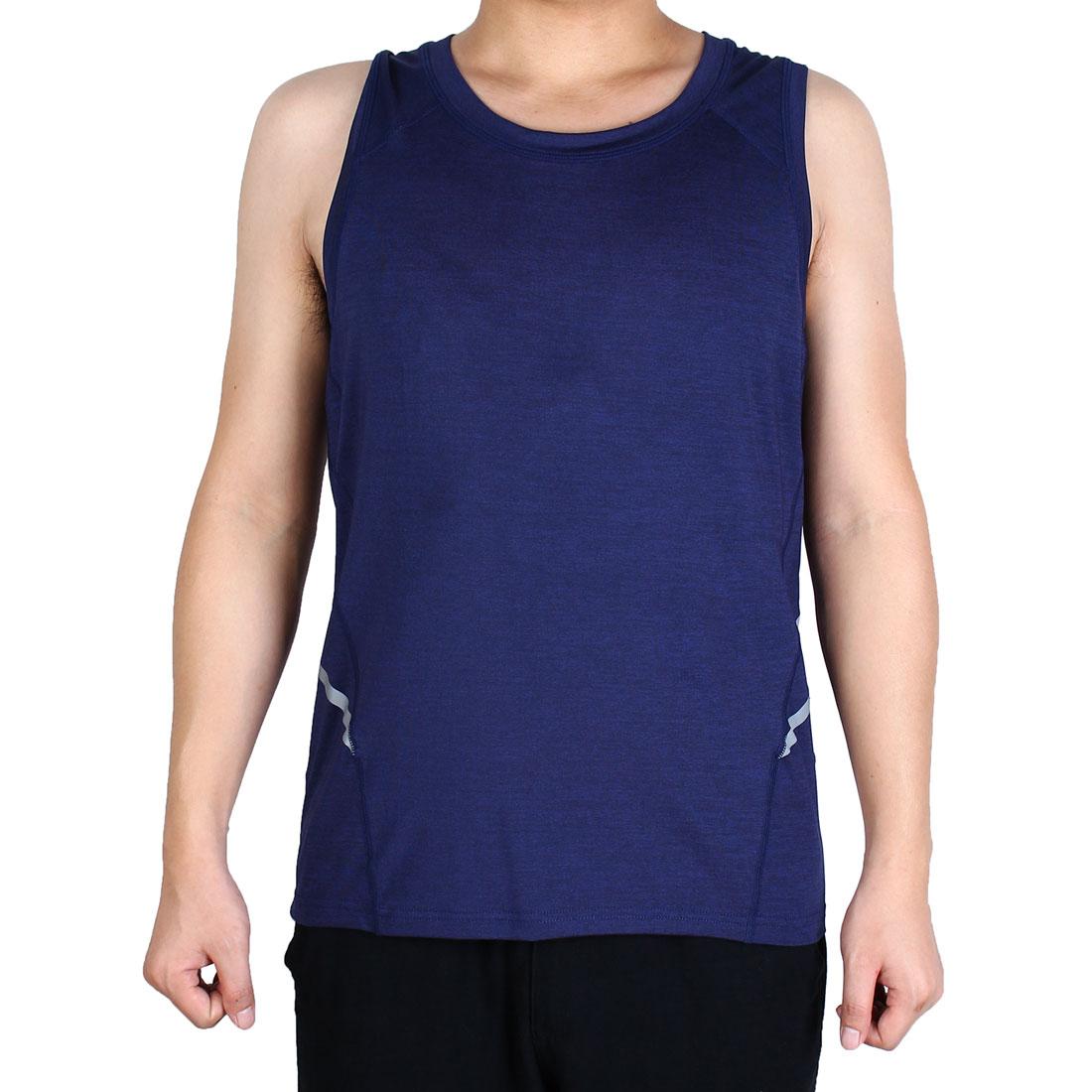 Men Sleeveless T-shirt Activewear Vest Exercise Sports Tank Top Navy Blue XL