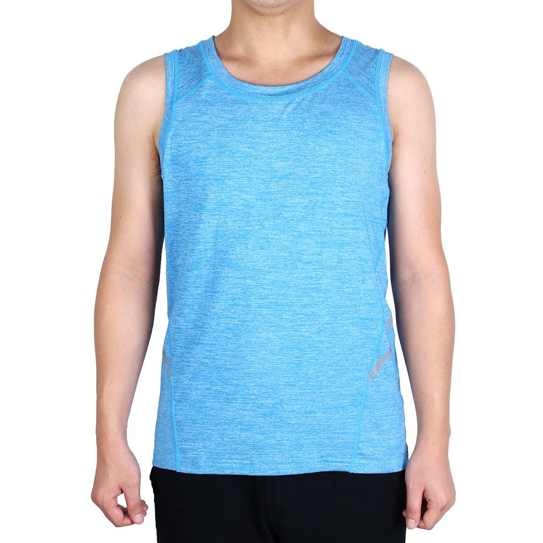 Men Sleeveless T-shirt Activewear Vest Training Exercise Sports Tank Top Blue M
