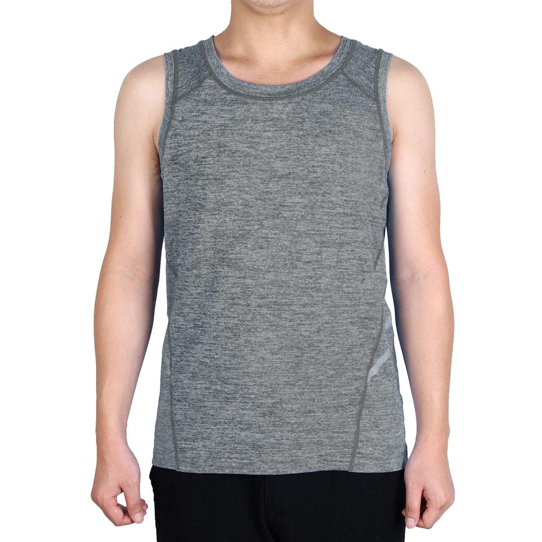 Men Sleeveless T-shirt Activewear Vest Training Exercise Sports Tank Top Gray L