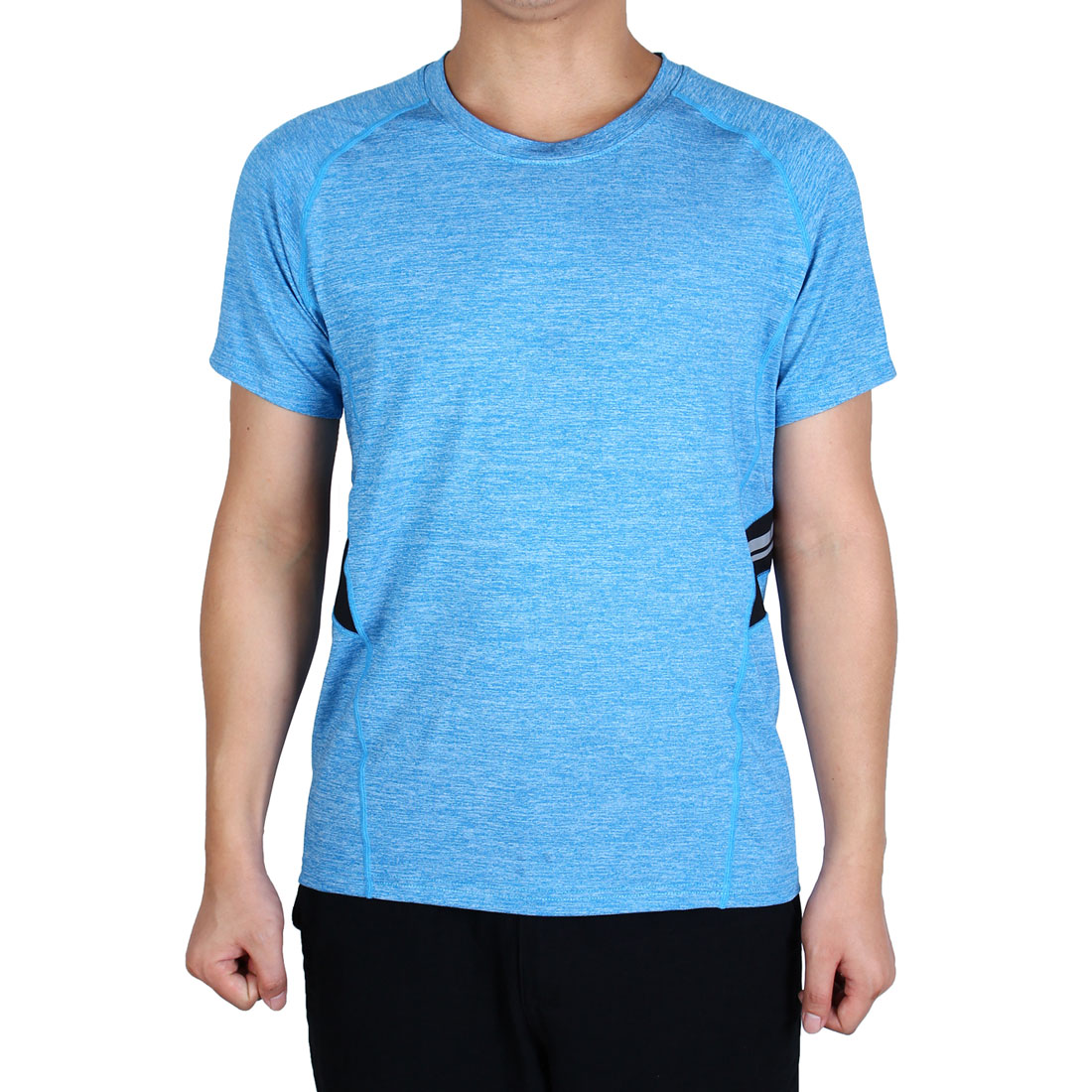 Adult Men Stretchy Short Sleeve Activewear Tee Outdoor Sports T-shirt Blue M