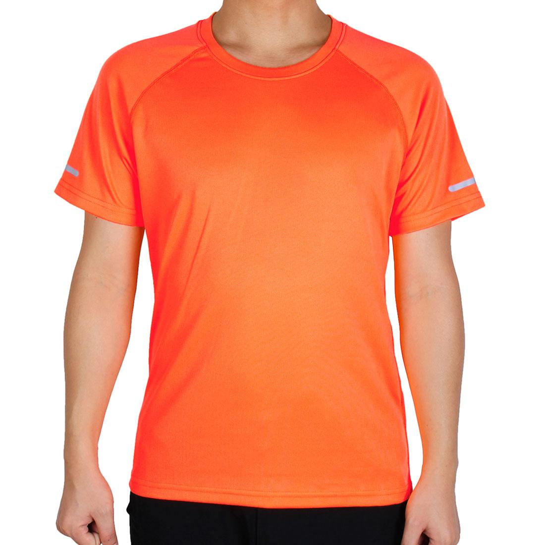 Men Moisture Wicking Short Sleeve Tee Outdoor Exercise Sports T-shirt Orange M