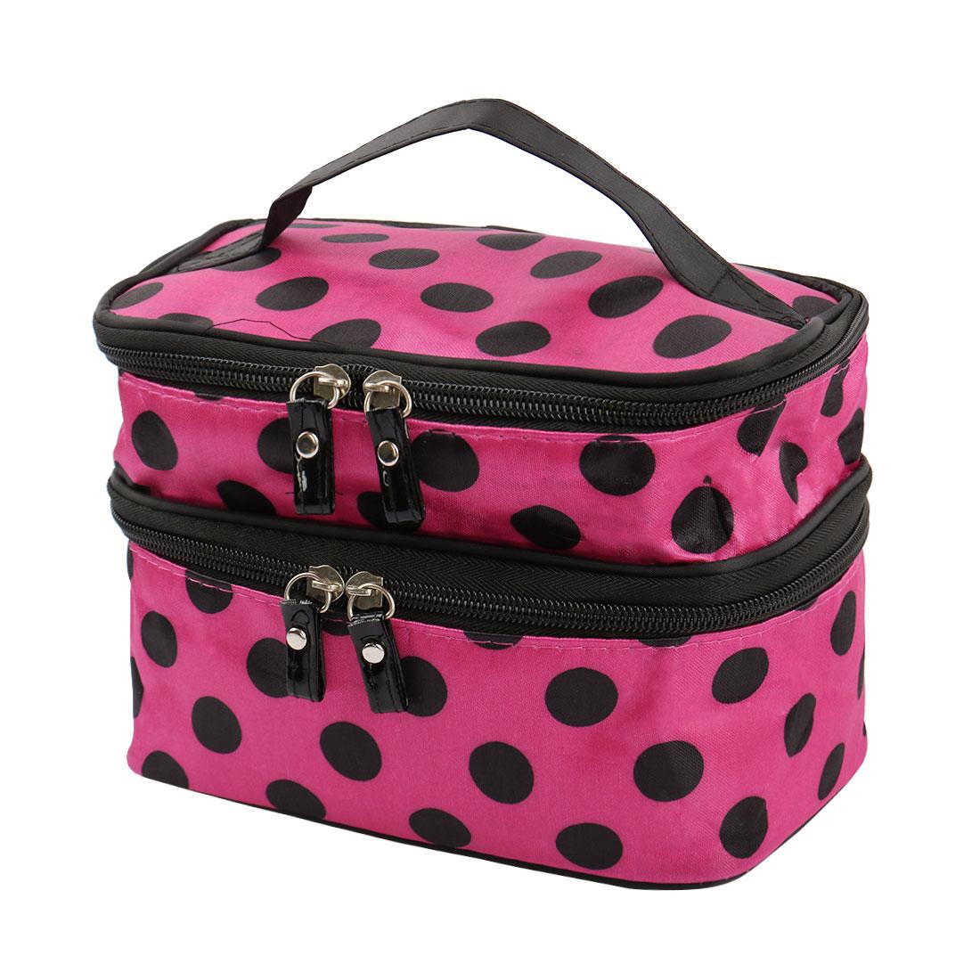 Zipped Cosmetic Bag Double Layer Make Up Case Handbag Pouch (Fuchsia+Black Dots)