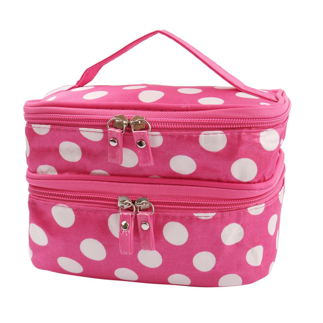 Zipped Cosmetic Bag Double Layer Make Up Case Handbag Pouch (Fuchsia+White Dots)
