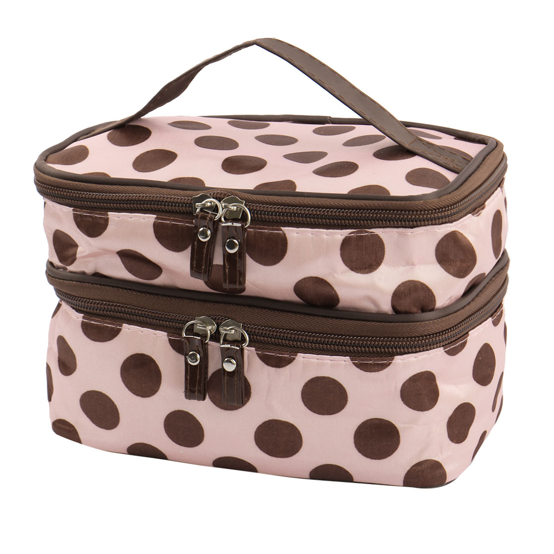 Zipped Cosmetic Bag Double Layer Make Up Case Handbag Pouch (Pink+Brown Dots)