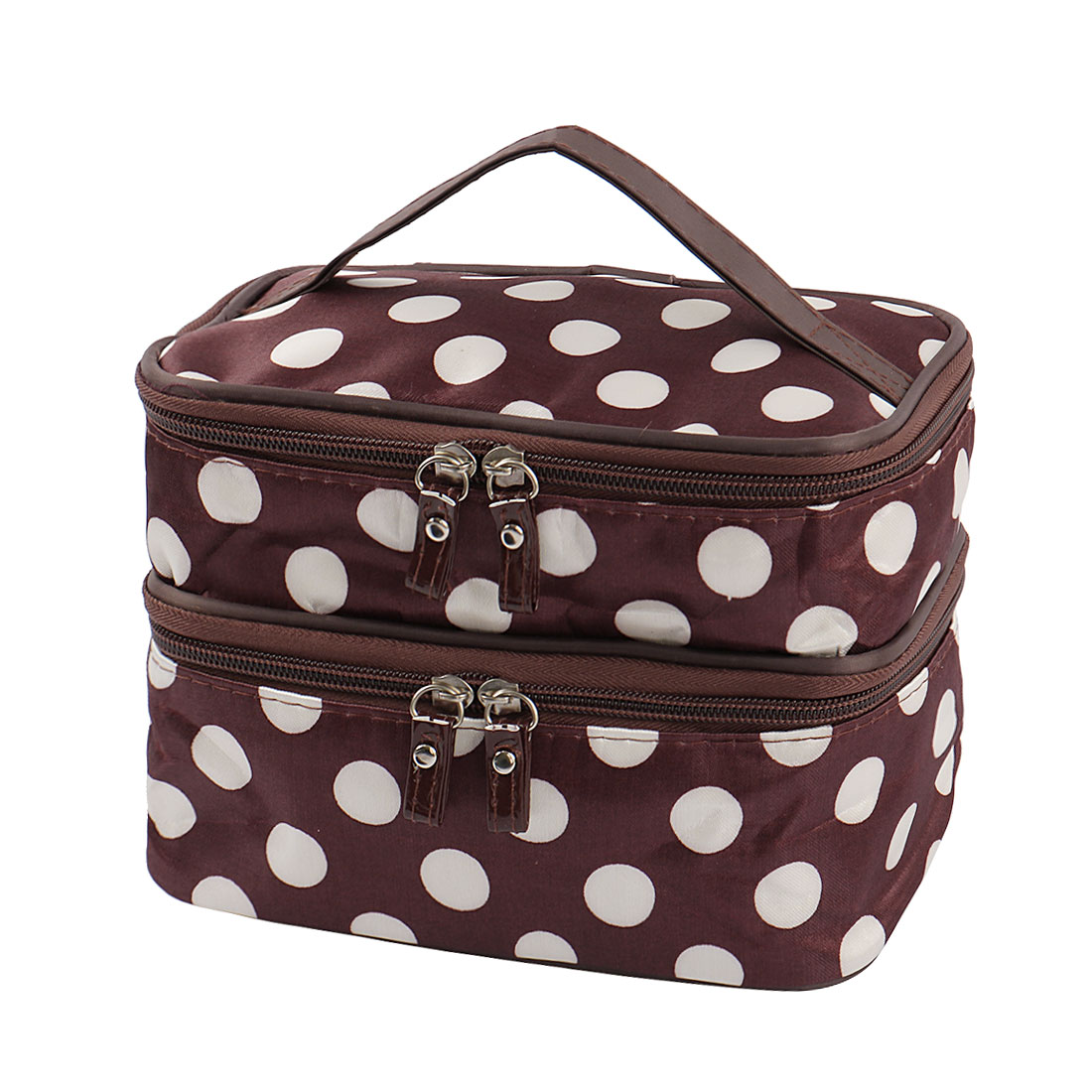 Zipped Cosmetic Bag Double Layer Make Up Case Handbag Pouch (Brown+White Dots)