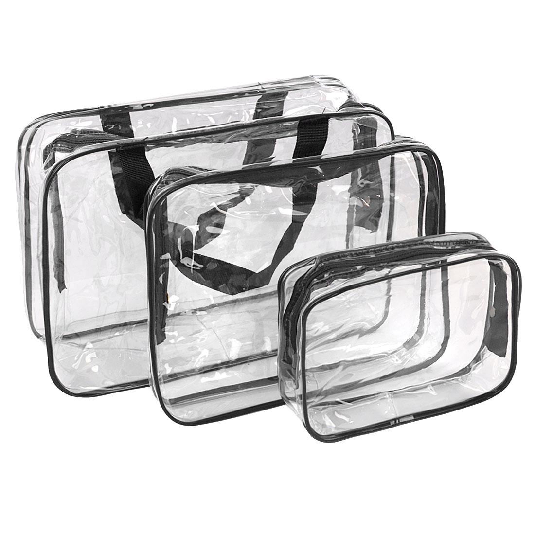 3 Pieces Travel PVC Cosmetic Bag Makeup Toiletry Wash Bag Holder Pouch Set Black