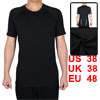 Adult Men Athletic Short Sleeve Clothes Activewear Badminton Tennis Sports T-shirt Black M