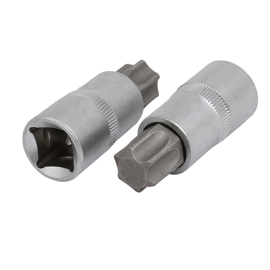 TX70 Torx Head 1/2-inch Square Chrome Vanadium Steel Drive Socket Adapter 2pcs