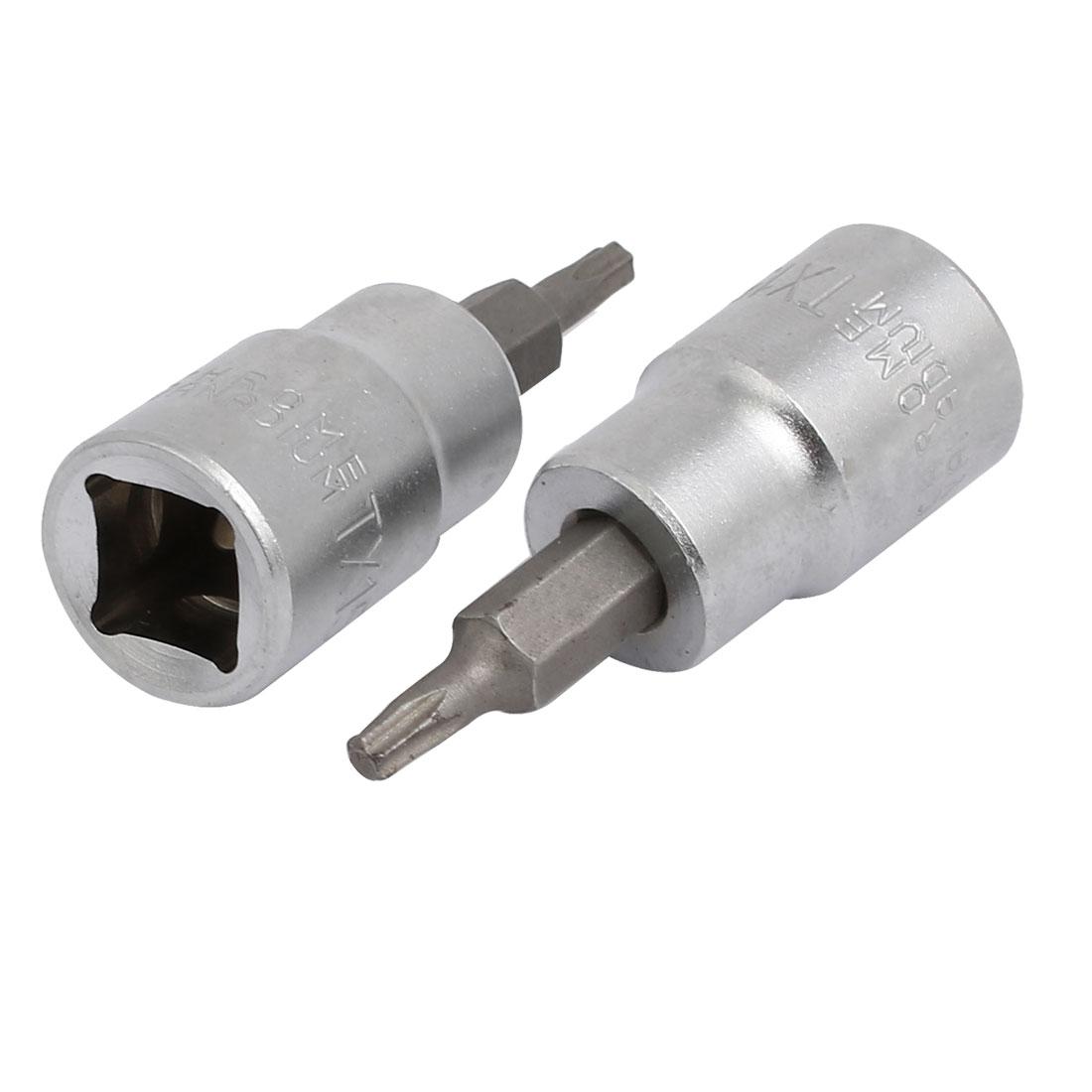 TX15 Torx Head 3/8-inch Square Chrome Vanadium Steel Drive Socket Adapter 2pcs