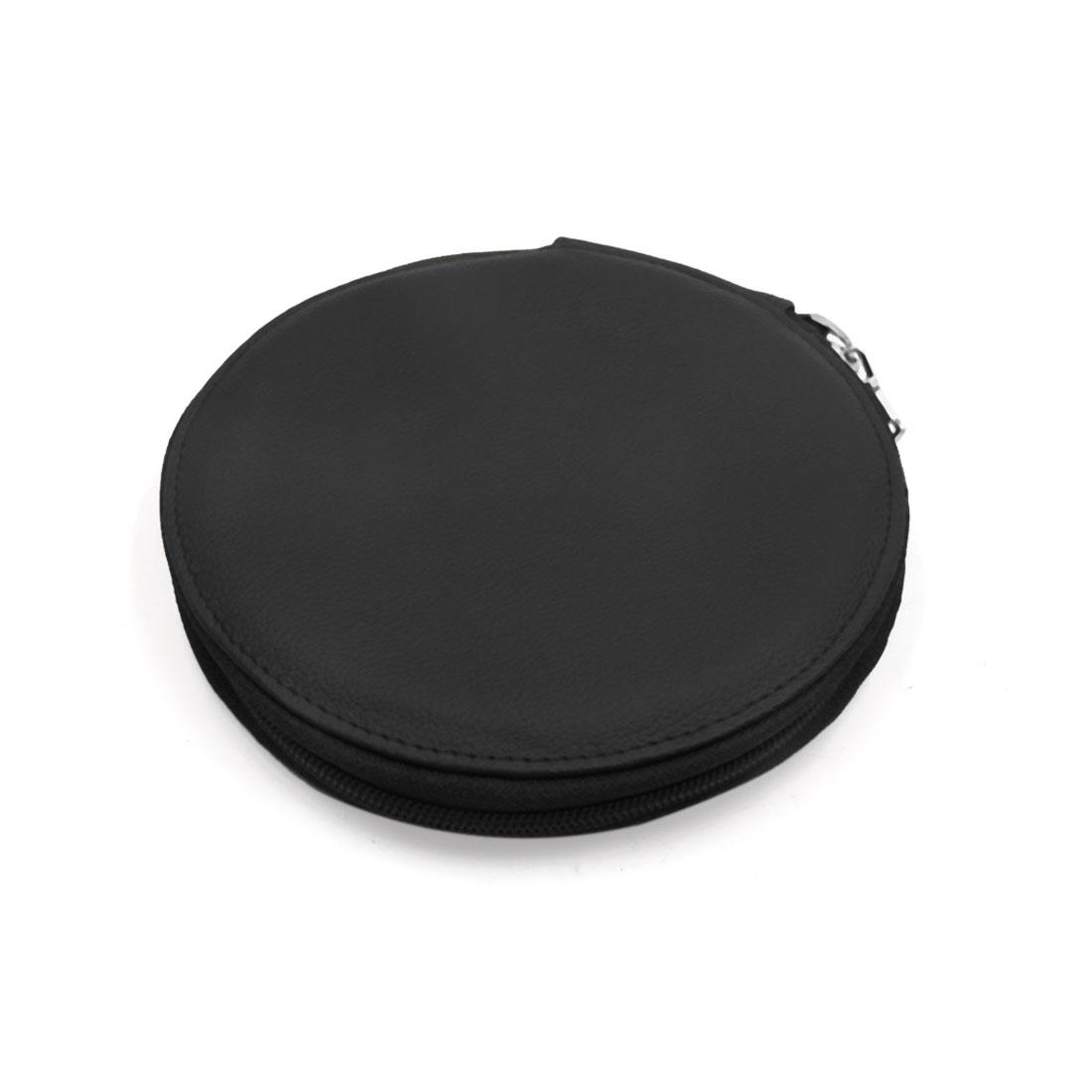 Black Faux Leather Zipper Closure 8 Capacity CD DVD Storage Bag Holder Organizer