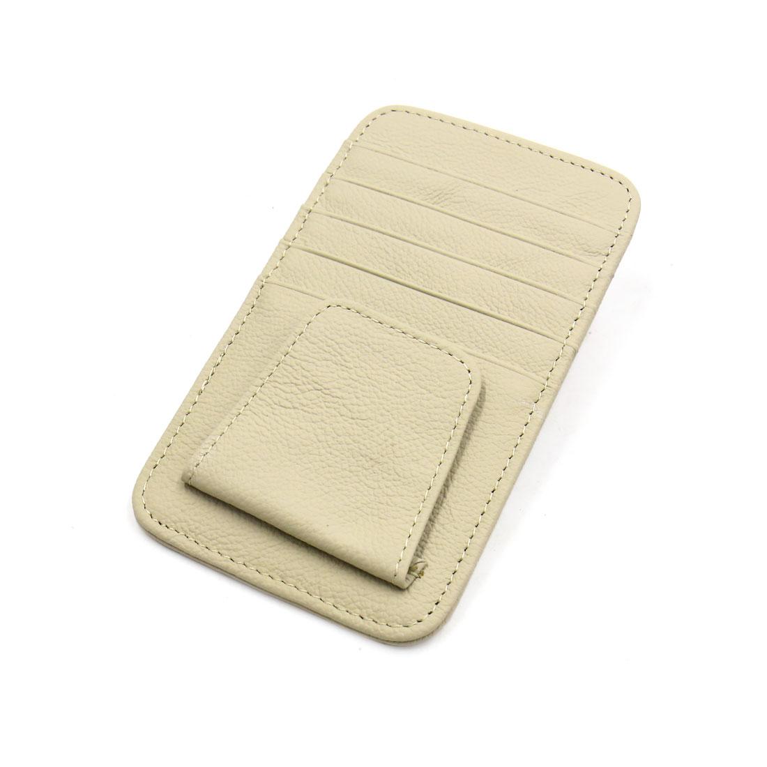 Car Sun Visor Faux Leather Credit Card Business Cards Holder Pouch Case Beige