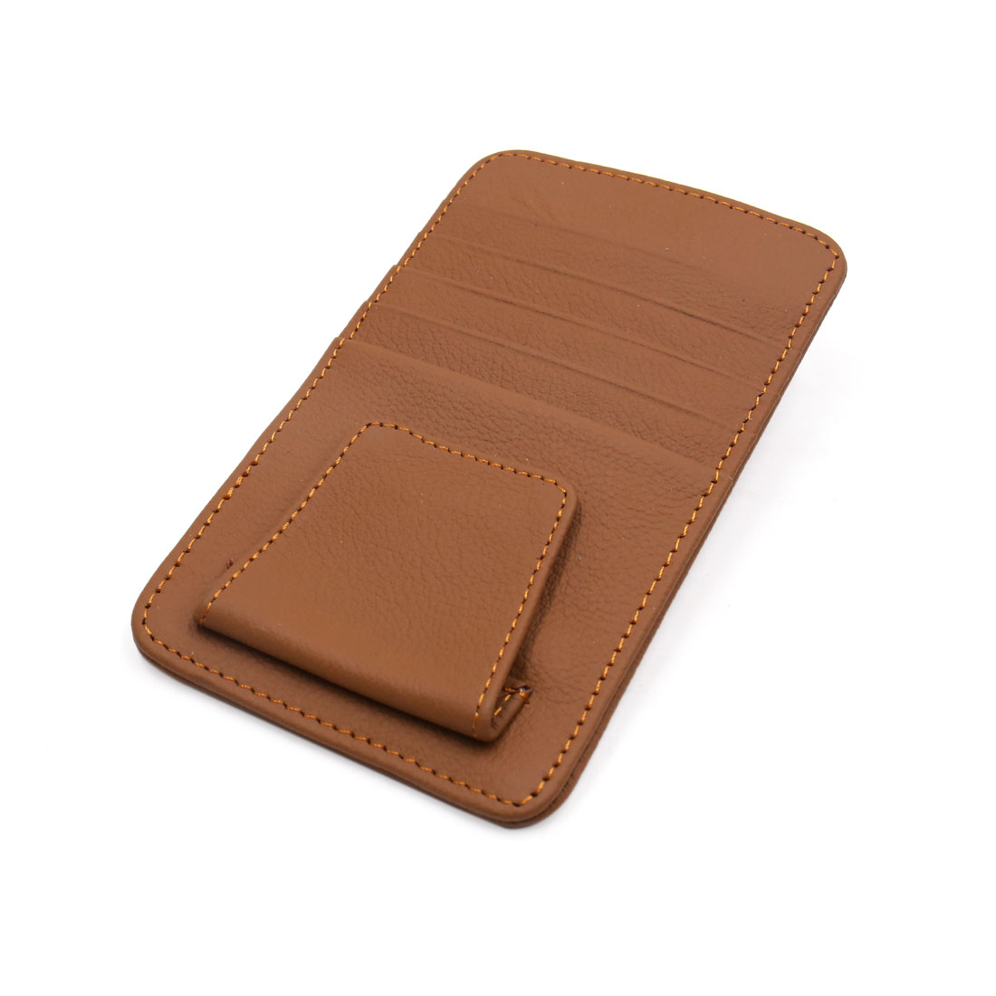 Car Sun Visor Faux Leather Credit Card Business Cards Holder Pouch Case Brown