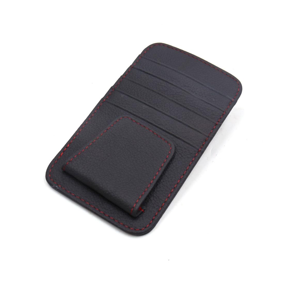 Car Sun Visor Faux Leather Credit Card Business Cards Holder Storage Case Black