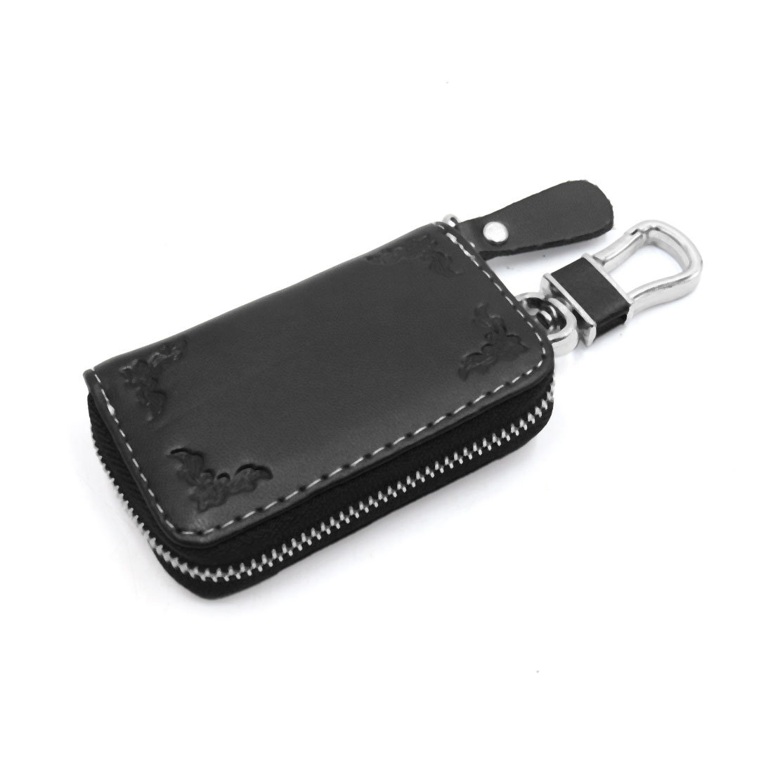 Universal Flower Printing Faux Leather Zipper Closure Car Key Holder Pouch Black