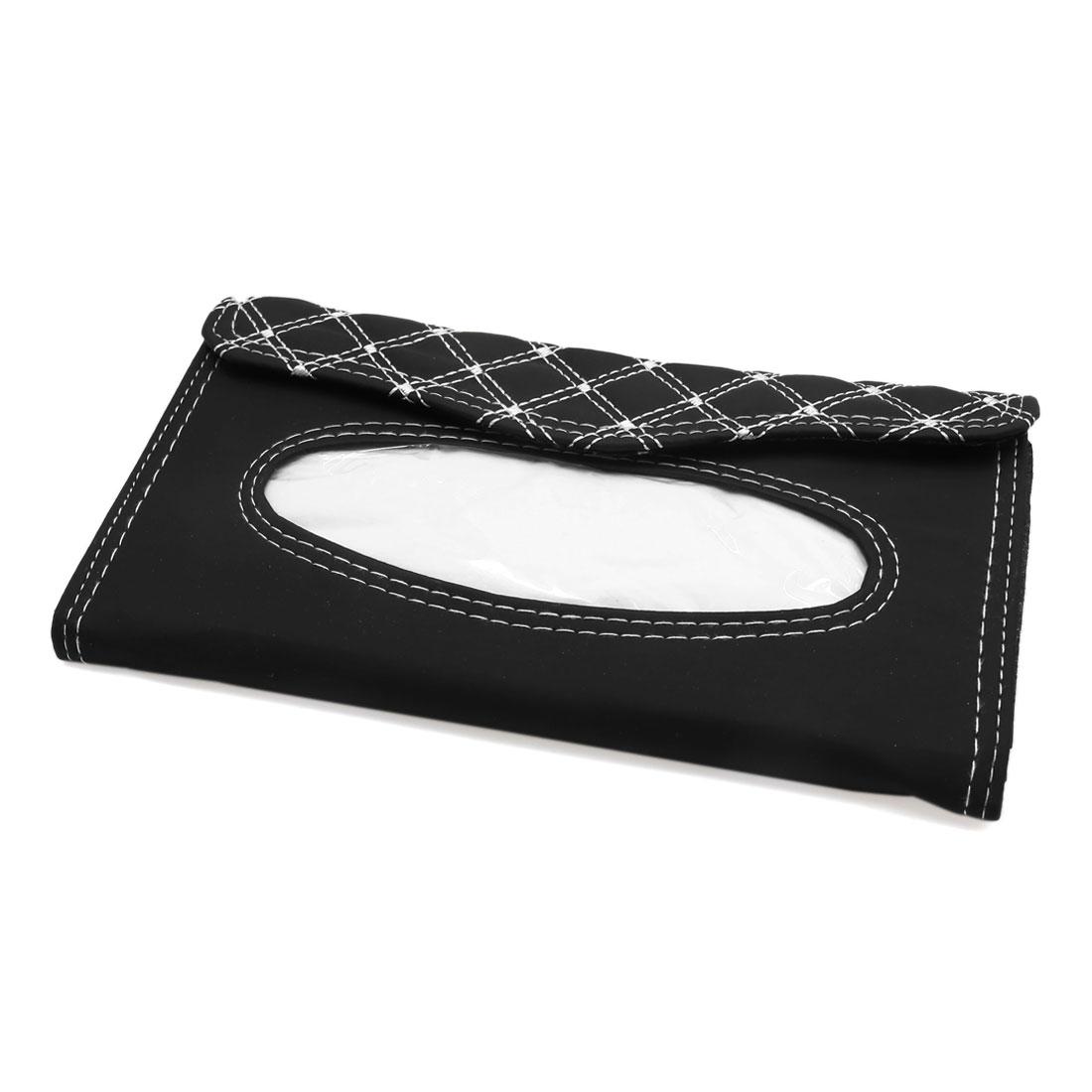 Auto Car Sun Visor Tissue Box Holder Napkin Paper Storage Case Cover Black White