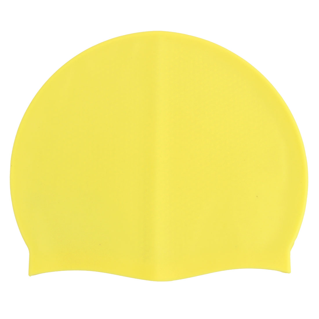 Unisex Silicone Dome Shaped Elastic Non-slip Water Resistant Swimming Cap Yellow