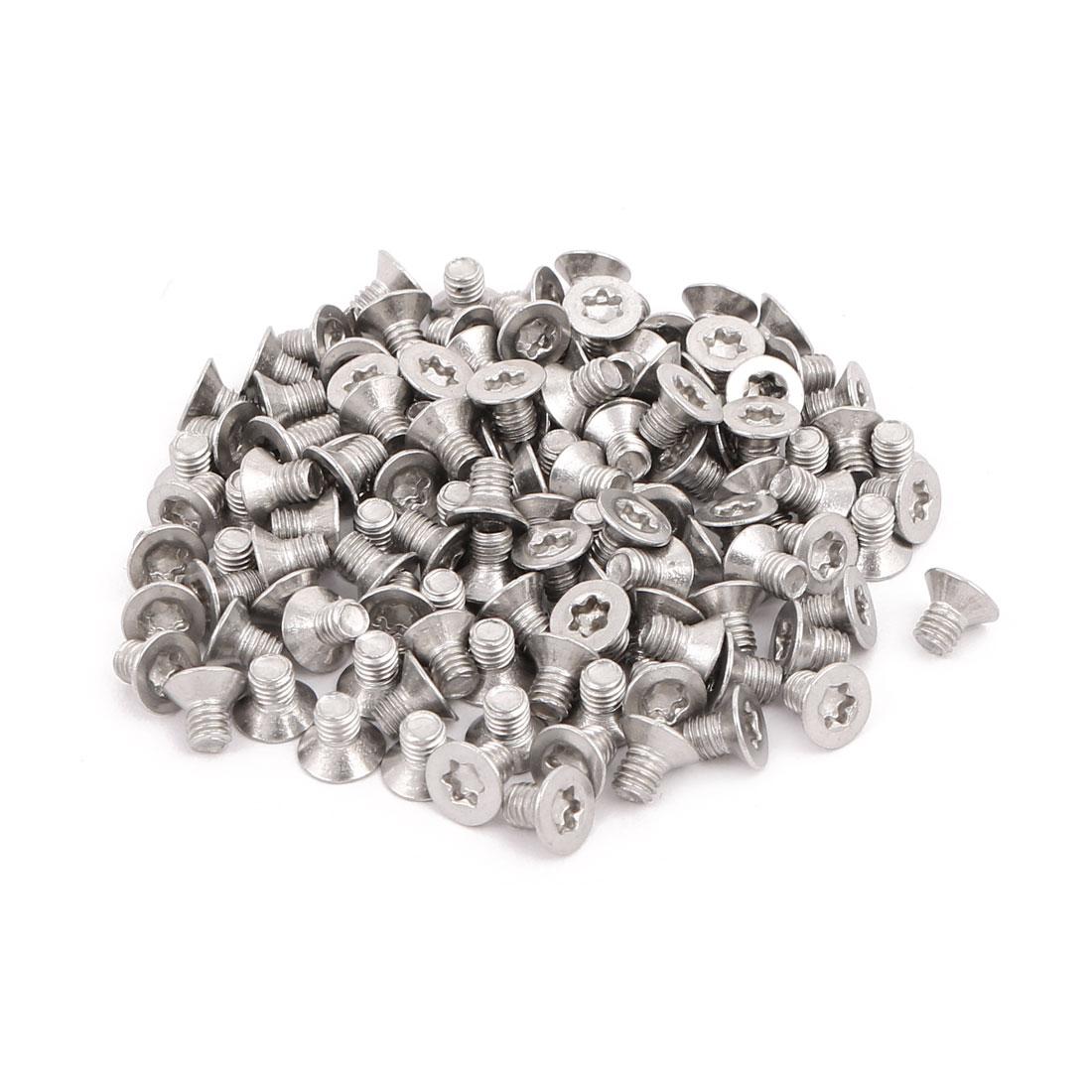 M3x4mm 304 Stainless Steel Fully Thread Flat Head Torx Screws Fasteners 120pcs