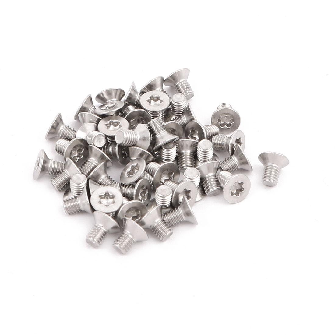 M3x5mm 304 Stainless Steel Fully Thread Flat Head Torx Screws Fasteners 50pcs